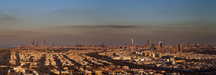 Abu Dhabi, UAE at dawn, showing the Corniche and Etihad Towers