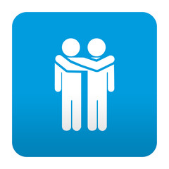 Etiqueta tipo app azul simbolo amistad