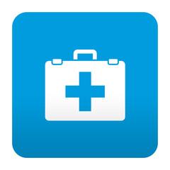 Etiqueta tipo app azul simbolo botiquin