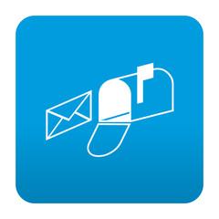 Etiqueta tipo app azul simbolo buzon