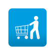 Etiqueta tipo app azul simbolo hombre comprando