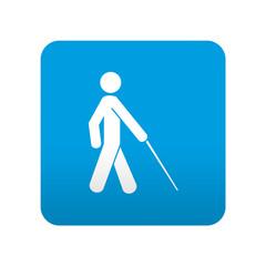 Etiqueta tipo app azul simbolo ciego
