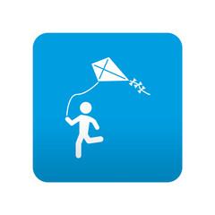 Etiqueta tipo app azul simbolo niño jugando con cometa