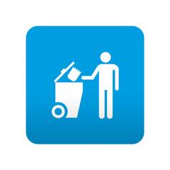 Etiqueta tipo app azul simbolo cubo de basura