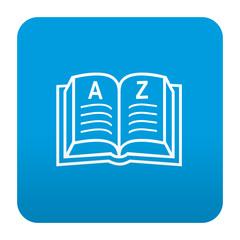 Etiqueta tipo app azul simbolo diccionario