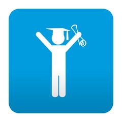 Etiqueta tipo app azul simbolo licenciado