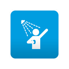Etiqueta tipo app azul simbolo ducha