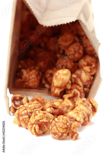caramel popcorn in paper box