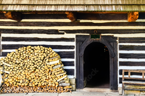 Entrance to traditional old cottage in Slovakia