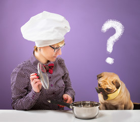 Woman and her dog looking at a pot with quizzical expression
