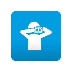Etiqueta tipo app azul simbolo paparazzi