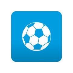 Etiqueta tipo app azul simbolo balon de futbol