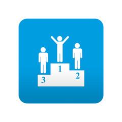 Etiqueta tipo app azul simbolo podium