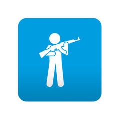 Etiqueta tipo app azul simbolo soldado