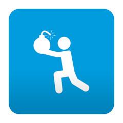 Etiqueta tipo app azul simbolo terrorista