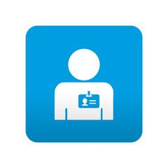 Etiqueta tipo app azul simbolo identidad