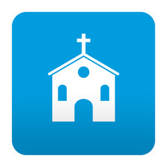 Etiqueta tipo app azul simbolo iglesia