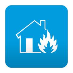 Etiqueta tipo app azul simbolo incendio