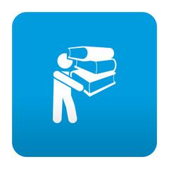 Etiqueta tipo app azul simbolo librero