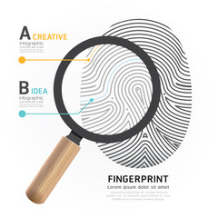 Fingerprint with magnifier vector illustration.