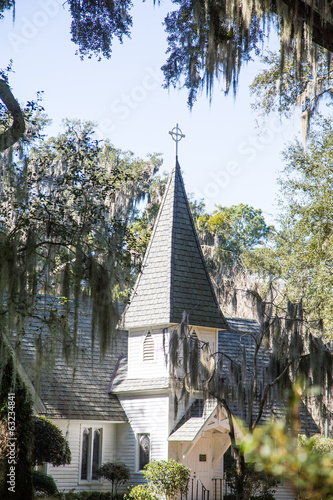 Church and Steeple Through Trees