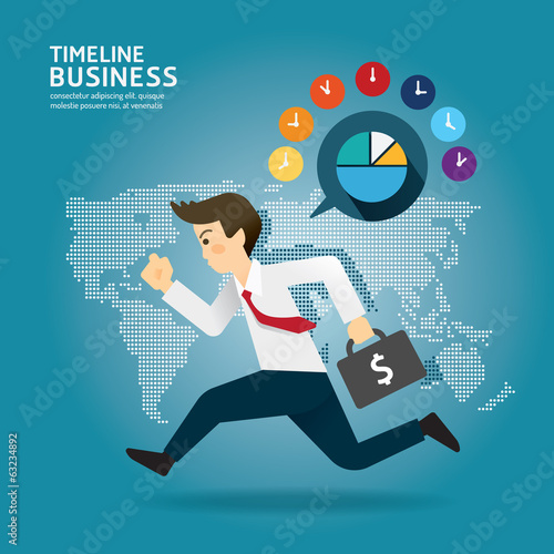 Concept of successful Timeline businessman cartoon run design.