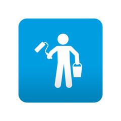 Etiqueta tipo app azul simbolo pintor