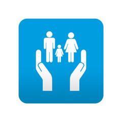 Etiqueta tipo app azul simbolo servicios sociales
