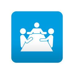 Etiqueta tipo app azul simbolo reunion de negocios