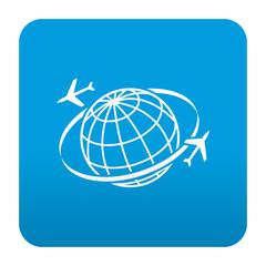 Etiqueta tipo app azul simbolo turismo