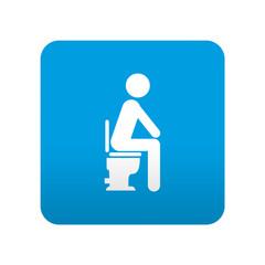 Etiqueta tipo app azul simbolo WC