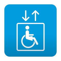 Etiqueta tipo app azul simbolo ascensor para minusvalidas