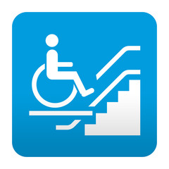 Etiqueta tipo app azul simbolo plataforma elevadora minusvalido