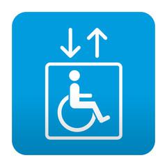 Etiqueta tipo app azul simbolo ascensor para minusvalidos