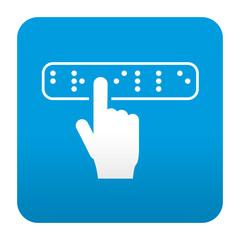Etiqueta tipo app azul simbolo braille