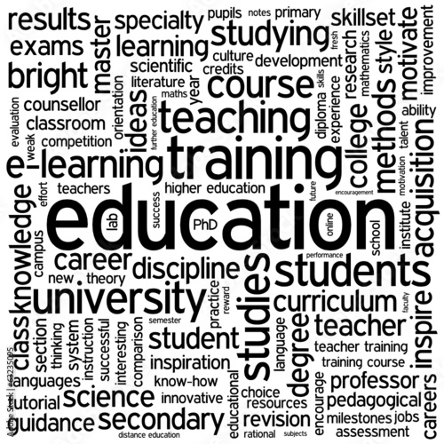 """EDUCATION"" Tag Cloud (training skills university school degree)"