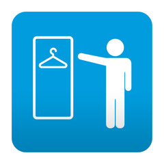 Etiqueta tipo app azul simbolo vestuario masculino
