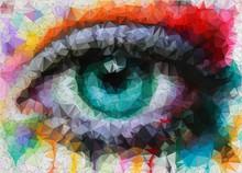 bel oeil au style géométrique abstrait de fond géométrique