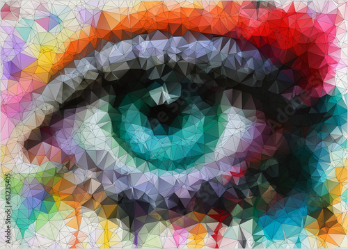 beautiful eye in geometric styling abstract geometric background - 63235405