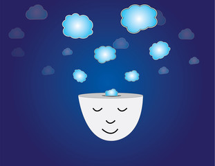 young human head dreaming meditating blue thought bubbles