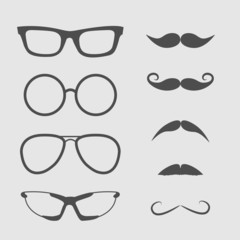 Glasses and mustache set. Isolated Icons.
