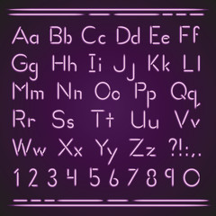 Neon alphabet Purple Pink