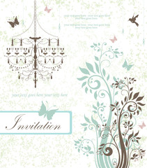 floral invitation card with flowers,birds and chandelier
