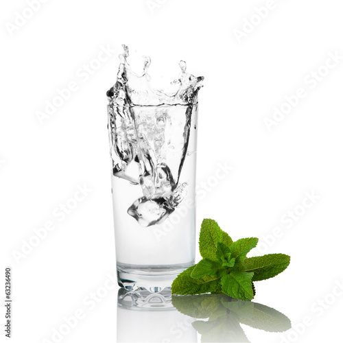 Glass of water and green mint