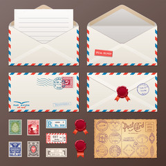 Mail Envelope, Stickers, Stamps, And Postcard Vintage Style