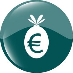 icon button money sack isolated on white