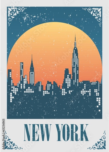 An illustration of New York City skyline at sunset