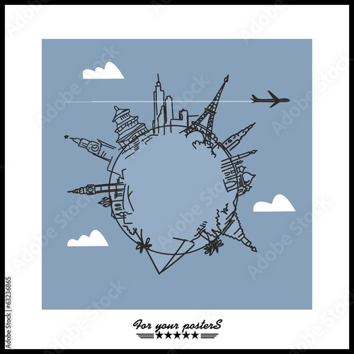 Travel and tourism background . Drawn hands world attractions