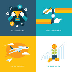 Set of flat design concept icons for business