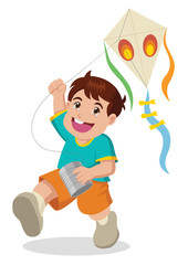 Cartoon illustration of a boy playing with kite